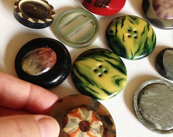 collection of unusual vintage buttons and buckle
