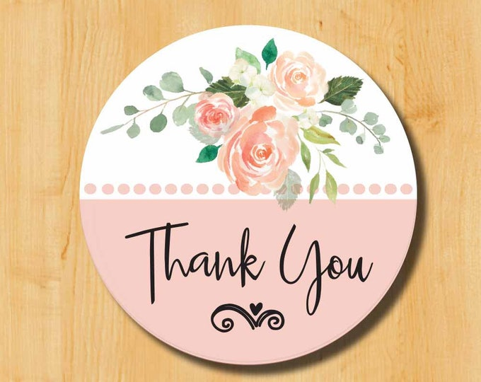 Thank You Sticker | Bridal Stickers | WeddingLabels | Wedding Stickers for Favors | Thank You Labels | Pink Flower Labels
