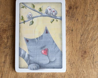 Little Wooden Picture Friendliest CAT and BIRD FAMILY, Illustration on Wood, Children's Room Art, Painting Hand, Gift Idea, Valentine's gift