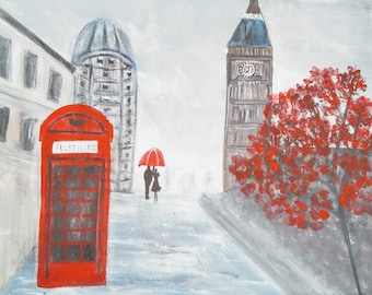 City in the Rain (The ArtSherpa) Red, black and white, acrylic