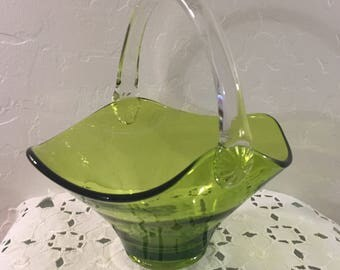 Green Glass Basket Clear Applied Handle