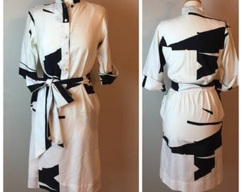 Vintage 70's mandarin abstract print dress by Catherine Ogust