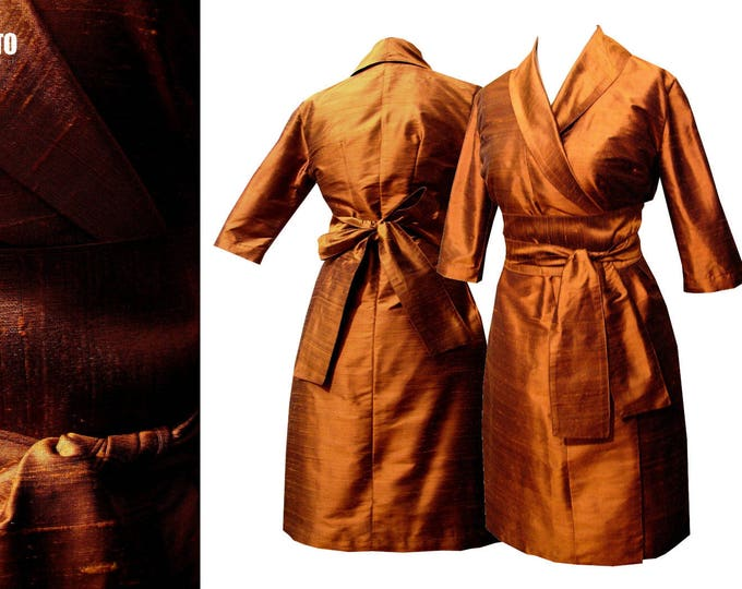SALE 30% Wrap dress in kimonostyle shantung silk