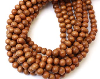 8mm Narra Natural Wood Beads 16 inch Strand, 50 Beads for Mala Necklaces, Mala Beads