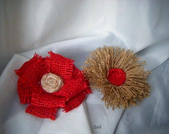 Flowers in red burlap and Twine set of 2 (10 cm)