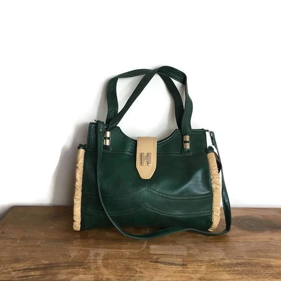 Green vintage shoulder bag / 70s green and cream purse / dark green faux leather handbag / retro green shoulder bag / H bag / retro bags