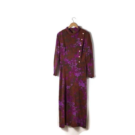 70s Winter Long Dress / boho 70s maxi dress / psychedelic long dress / purple pink winter vintage maxi dress / UK 14