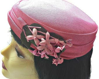Bright Pink Hat Pillbox with Flowers Women's