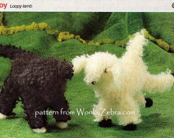Knitted Toy lamb in loop stitch Vintage Knitting Pattern PDF T1013 from WonkyZebra