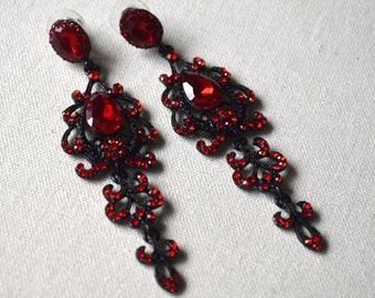 Red crytal long earrings