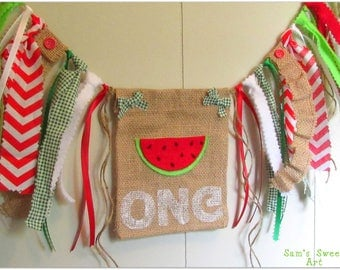 Watermelon High Chair Banner, Watermelon First Birthday Banner, Watermelon Smash Cake Prop, Red Highchair Banner, Red Watermelon Banner