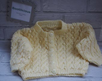 knitted cable baby cardigan/knitted baby coat/hand knitted baby jacket/girl's baby cardigan/lemon baby cardigan/lemon knitted cardigan.