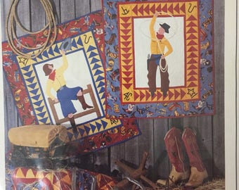 Cowboy applique patchwork quilt and cowgirl patchwork quilt pattern