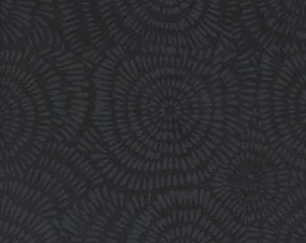 Island Batik Dandelion Black Grey Batik Fabric BE22-E1 BTY