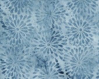 Island Batik River's Edge Blue Navy Cornflower Round Petal Floral Batik Fabric 121612710 BTY