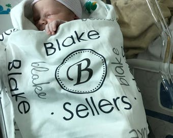 Personalized baby name swaddle blanket for newborn or hospital pictures: baby personalized name newborn hospital gift baby shower gift