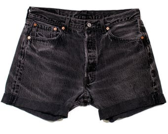 Levis High Waisted Black Denim Shorts