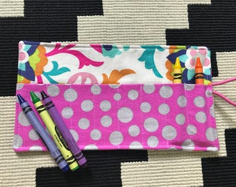 Crayon Roll with Elastic Closure- Fancy- Great Easter Basket Filler, Party Favor, Stocking Stuffer- Ready to ship!