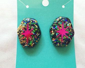 Modern Vixen Atomic Starburst Confetti Lucite Earrings