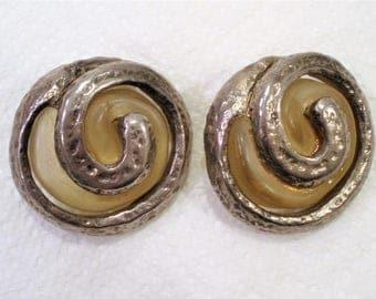 Vintage Silver & Resin Earrings / Famous Designer /  Dominique Denaive of Paris, France / Clip On Earrings / Big and Bold Earrings
