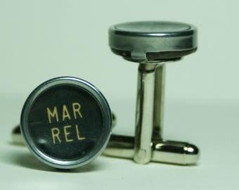 """Antique Typewriter Key Cufflinks """"MARGIN RELEASE"""" Key FREE Gift Bag"""