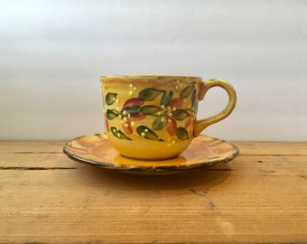 Handpainted Teacup and Saucer from France