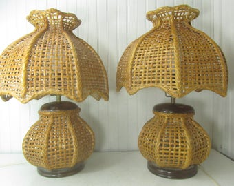 Two Wicker Lamps, Mid century decor, Wicker Shade, Vintage Lamp, Table Lamp,boho decor, natural,
