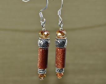 Splendor: Goldstone with Swarovski Crystal Copper beads