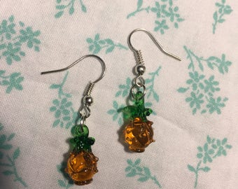 Pineapple Glass and Silver Earrings