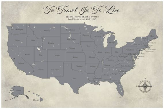 Gray Home Decor United States Travel Map Paper Anniversary - Personalized us travel map