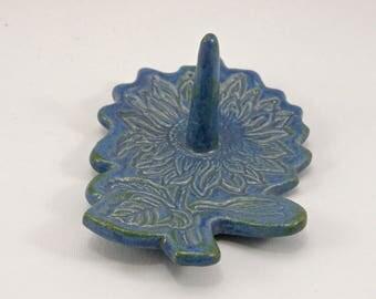 Sunflower Ring Dish Stoneware wedding present personalized engagement present