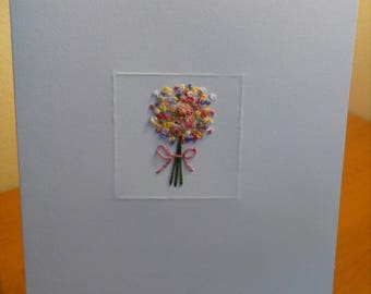 Beautiful Bouquet - Hand Embroidered Gift Card