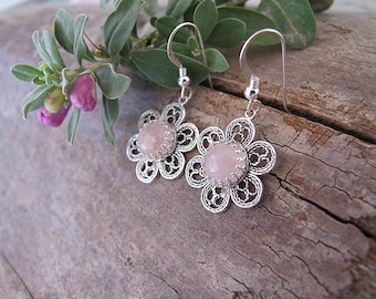 Rose Quartz silver earrings,Silver earrings,Silver Filigree earrings,Rose Quartz earrings, Israel jewelry