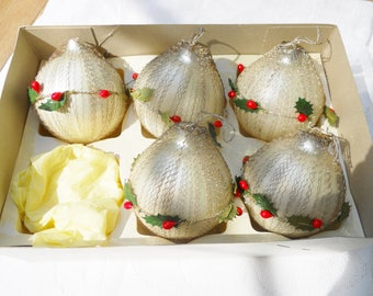 Set of 5 Crimped Wire Wrapped Glass Christmas Tinsel Ornaments Made in Austria