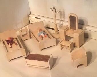 Strombecker Playthings Walnut Bedroom Set 10 items