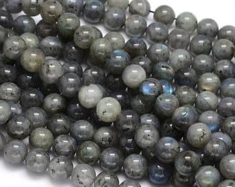 10 x 8mm Labradorite round beads