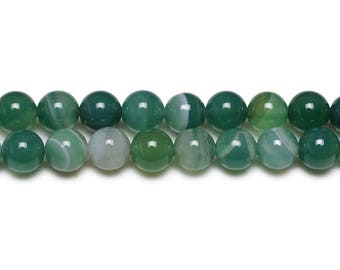 Natural Agate beads with 4mm emerald green 10 x