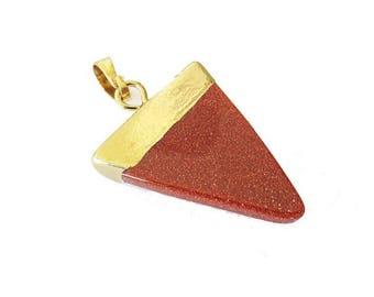 Pendant stone Triangle set GOLDSTONE DORE