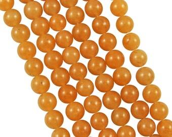 10 x 10mm Orange Aventurine round beads
