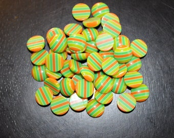 50 resin cabochons, 25 pairs round with a flat back, striped with orange and greens, 10 mm, perfect for earrings