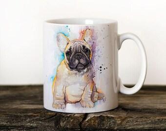 Frenchie French Bulldog Mug Watercolor Ceramic Mug Unique Gift Coffee Mug Animal Tea Cup Art Illustration Cool Kitchen Art Printed mug dog