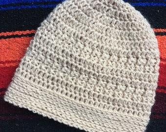 Soft Beige Crochet Beanie
