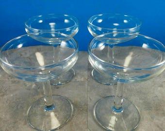 Vintage Clear Glass Margarita Glasses Set of 4 Glasses   Bar Glasses   Bar Cart Glasses