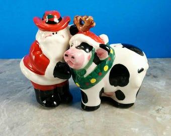 Vintage Santa Claus and Christmas Cow Salt and Pepper Shaker Set - Ceramic - Christmas Tableware