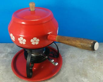 Vintage Red Fondue Pot with Stand and Burner - Retro Fondue Party - 1970's Fondue