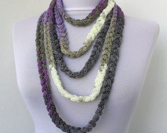 Knitted jewelry, Knit Scarflette Necklace,Braided Necklace,in white, gray, lilac, purple E240