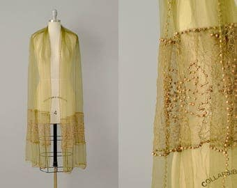 1910s Shawl // 1910's Silk Net and Lace Wood Beaded Shawl // One Size