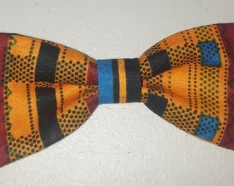 Multicolored Kente Clip On Bowtie