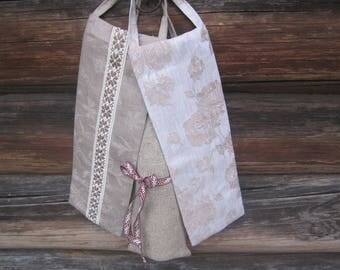 Linen Gift Bag for a Bottle - Bottle Wrapping - Linen Gift Bag with a Zipper and a hanger - 3 styles available - choose the one you like