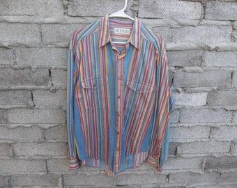 Vintage Shirt Long Sleeve Native like Mexican Guatemalan Ethnic Madras Stripes Gypsy Peasant 1980 South West Country Folk Boho Hippie